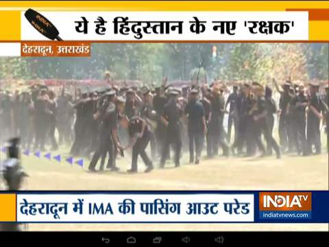 Uttarakhand: Cadets at the IMA in Dehradun celebrate after their passing out parade