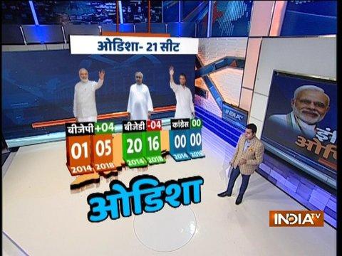 ओडिशा की 21 लोकसभा सीटों में से बीजेपी को 5, कांग्रेस को 0 और बीजेडी को 16 सीटें मिल सकती है