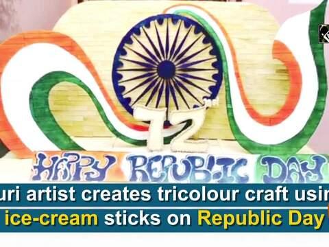 Puri artist creates tricolour craft using ice-cream sticks on Republic Day