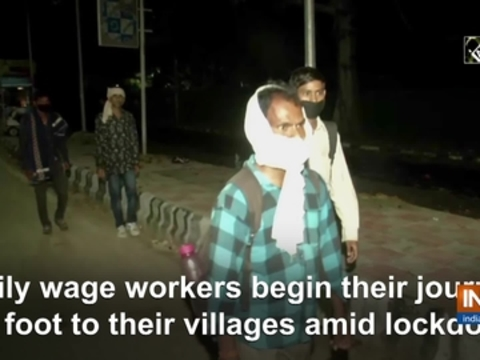 Daily wage workers begin their journey on foot to their villages amid lockdown