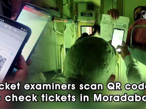 Ticket examiners scan QR codes to check tickets in Moradabad