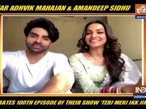 TV actor Adhvik Mahajan and Amandeep Sidhu celebrate 100th episode of their show Teri Meri Ikk Jindri