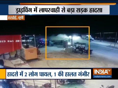 यूपी: हरदोई में तेज रफ्तार कार ने ट्रैक्टर ट्रॉली को मारी टक्कर, 2 लोग गंभीर रूप से घायल