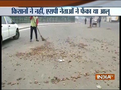 UP: Potatoes dumped outside UP CM Yogi Adityanath's Lucknow house, two SP leaders held