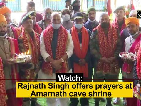 Watch: Rajnath Singh offers prayers at Amarnath cave shrine