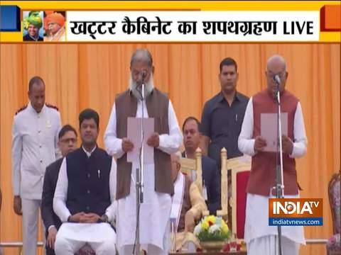 हरियाणा के सीएम एमएल खट्टर ने मंत्रिमंडल का विस्तार किया; अनिल विज और 9 अन्य ने कैबिनेट मंत्री के रूप में शपथ ली