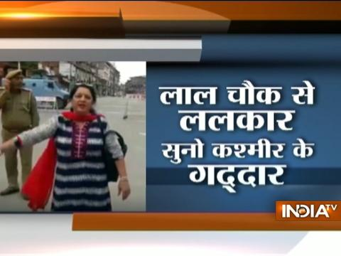 "Kashmiri Pandit woman raises ''Bharat Mata ki jai"" chants at Lal Chowk in Srinagar"