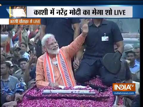 PM Modi's thunderous roadshow in Varanasi, huge crowd throngs