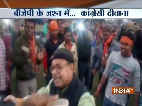 Congress MLA Ratan Lal dance and celebrate with BJP's workers in Tripura