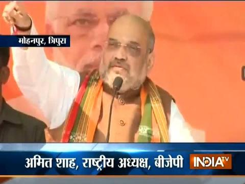 Tripura: Left cadres 'looting' public, vote for BJP says Amit Shah