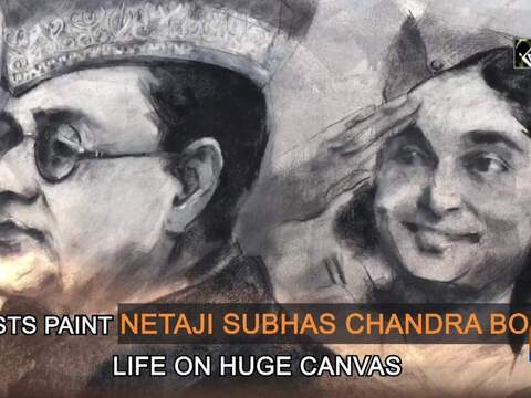 Artists paint Netaji Subhas Chandra Bose's life on huge canvas
