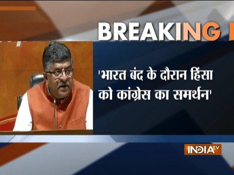 Bharat Band protests: Union Minister Ravi Shankar Prasad holds press conference