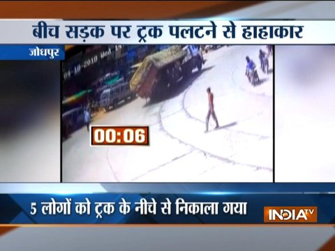 Speeding truck over turns in Jodhpur, incident caught on camera