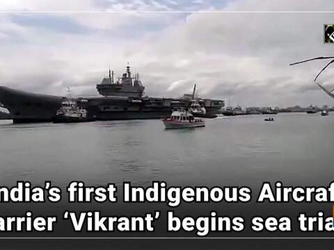 Watch: India's first Indigenous Aircraft Carrier 'Vikrant' begins sea trials