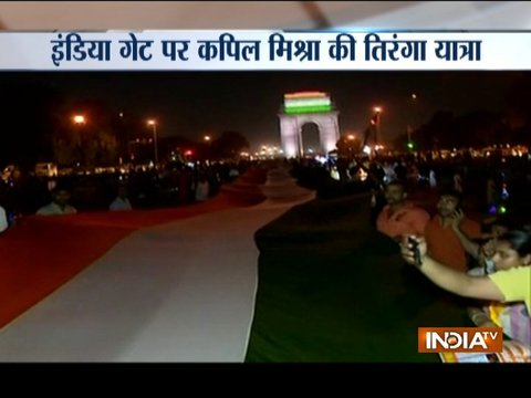 Kapil Mishra holds Tiranga Yatra at India Gate against 'defaming' of Hindu gods