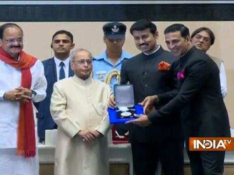 Actor Akshay Kumar receives his first National Award for Rustom