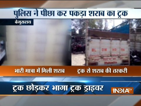 Bihar police seizes 95 cartons of foreign liquor from a truck in Begusarai