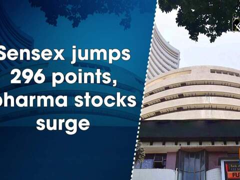Sensex jumps 296 points, pharma stocks surge