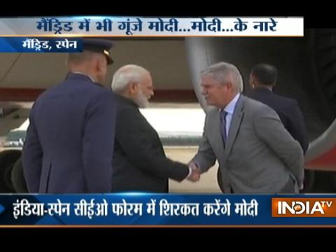 PM Modi Arrives In Spain, Will Meet President And Top Businessmen Of The Country