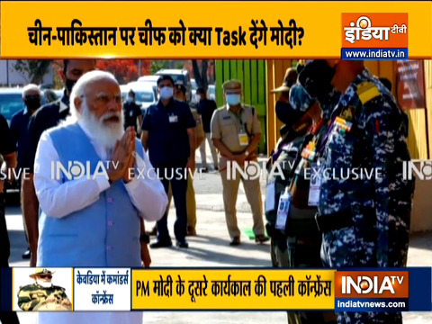 PM Modi arrives in Kevadia to address Combined Commanders' conference