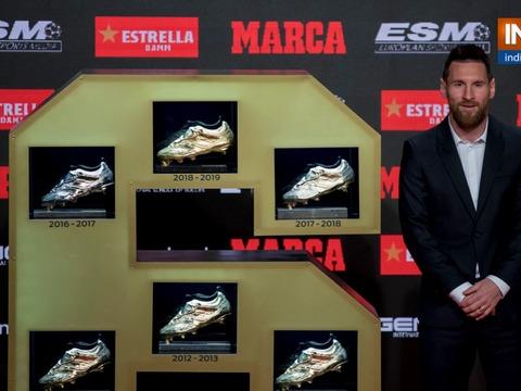 Barcelona's Lionel Messi wins sixth Golden Shoe award