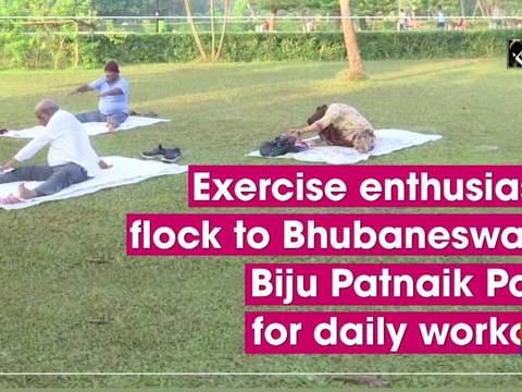 Exercise enthusiasts flock to Bhubaneswar's Biju Patnaik Park for daily workout