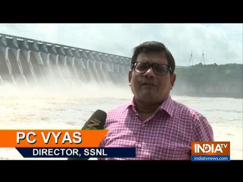 Sardar Sarovar dam water channeled into Narmada river, flood control operations underway