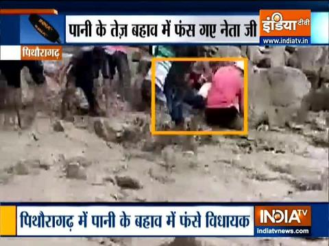 Congress MLA Harish Dhami slips and falls into flooded rivulet in Uttarakhand's Pithoragarh