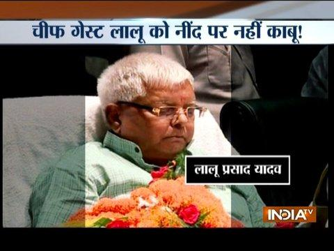 Lalu yadav found napping during congress programme in Patna