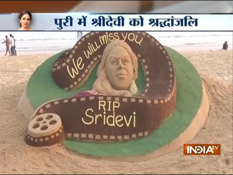 Fan pays tribute to Sridevi with sand art in Puri