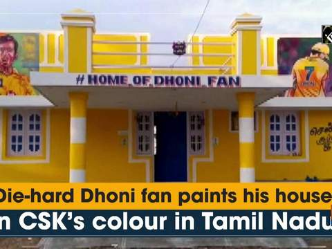 Die-hard Dhoni fan paints his house in CSK's colour in Tamil Nadu