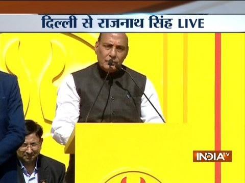 Home Minister Rajnath Singh flags-off BJPs 'Jal-Mitti Rath Yatra' in Delhi
