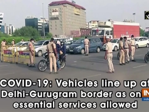 COVID-19: Vehicles line up at Delhi-Gurugram border as only essential services allowed