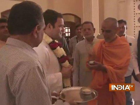 Gujarat Elections: Rahul Gandhi begins visits Akshardham temple in Gandhinagar