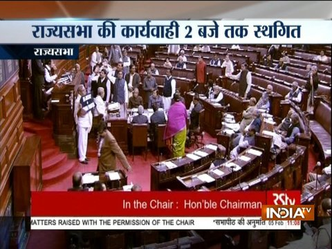 RS adjourned till 2 pm after Samajwadi Party's protest over 'Noida fake encounter' issue