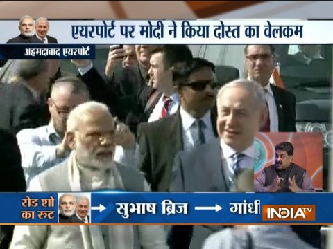 PM Modi and Israel PM Netanyahu hold roadshow in Ahmedabad