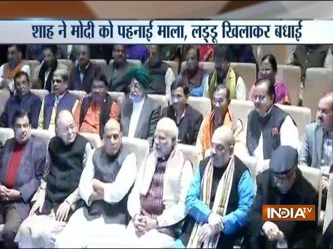 After poll win, PM Modi gets emotional at BJP party meet, says this is a big victory
