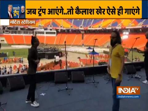 Kailash Kher rehearses for his performance at Motera Stadium