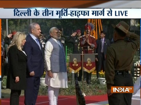 Israel PM Netanyahu & PM Modi pay tribute at Teen Murti Haifa Chowk in Delhi