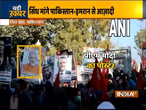 Placards of PM Modi and other world leaders raised at pro-freedom rally in Sindh, Pakistan