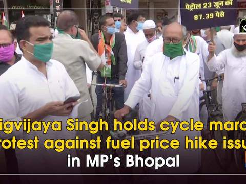 Digvijaya Singh holds cycle march protest against fuel price hike issue in MP's Bhopal