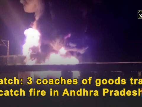Watch: 3 coaches of goods train catch fire in Andhra Pradesh