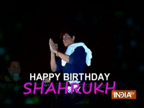 Shah Rukh Khan greets fans outside Mannat at midnight on birthday