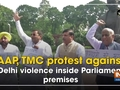 AAP, TMC protest against Delhi violence inside Parliament premises