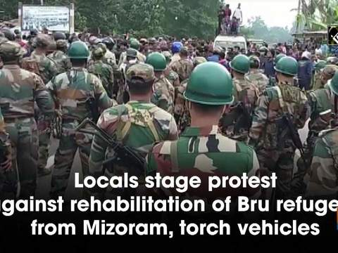 Locals stage protest against rehabilitation of Bru refugees from Mizoram, torch vehicles