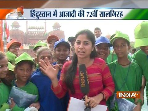 72वें स्वतंत्रता दिवस: लाल किले पर प्रधानमंत्री मोदी से मिलने के बाद बच्चों में उत्साह