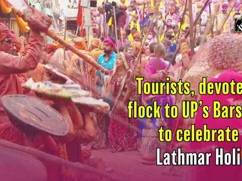 Tourists, devotees flock to UP's Barsana to celebrate Lathmar Holi