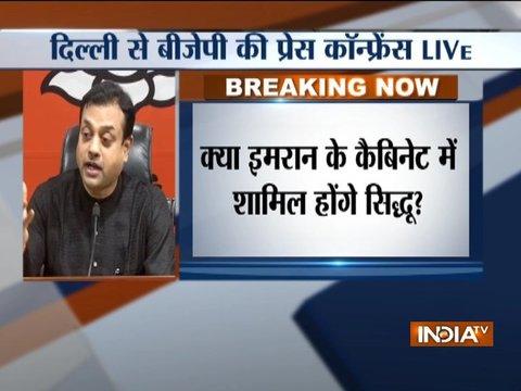Delhi: BJP Spokesperson Sambit Patra addresses press conference on Navjot Singh Sidhu