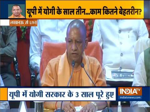 UP CM Yogi Adityanath briefs media over completion of 3 years of his govt