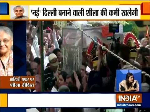 दिल्ली की पूर्व सीएम शीला दीक्षित की अंतिम यात्रा निगम बोध घाट तक